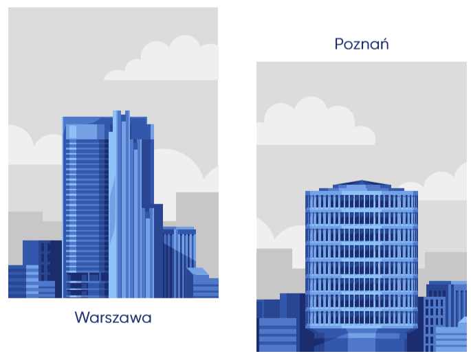 <p>Our offices are located in prestigious office buildings in the centre of Warsaw and Poznań.</p>